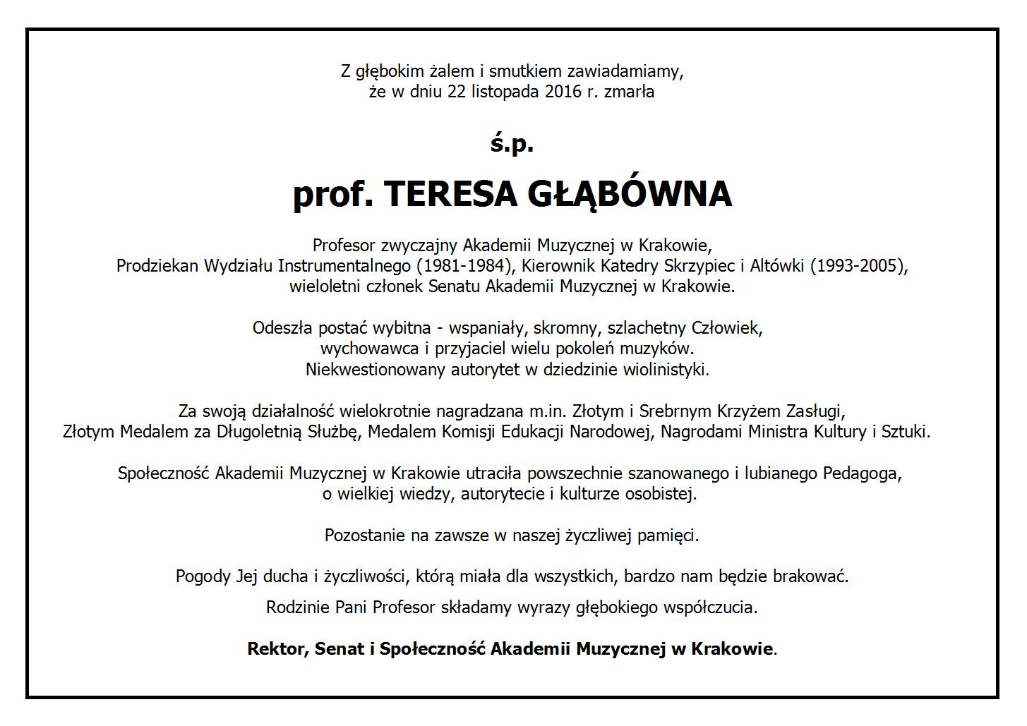 Zmarła prof.Teresa Głąbówna